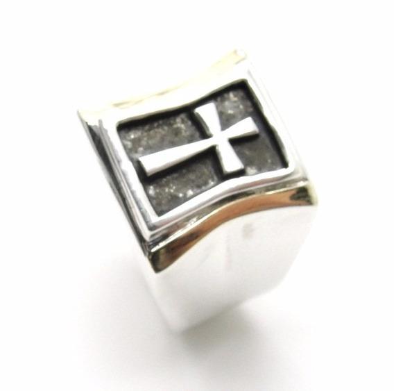 Anel Cruz Prata De Lei 925 E Filetes Com Ouro - A1315