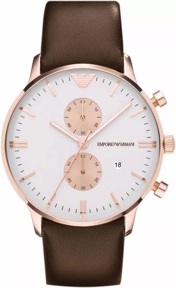 Relógio 0025g Empório Armani Ar0398 Branco Couro C/ Caixa