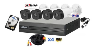 Kit 4 Camaras Dahua 1080p Disco 500 Gb Dvr Cctv H265+ Bala