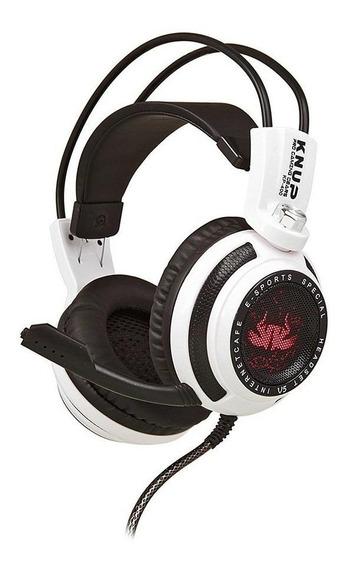 Fone de ouvido gamer Knup KP-400 branco y preto