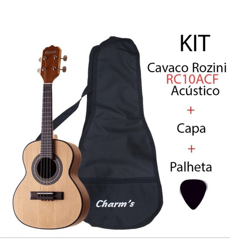 Imagem 1 de 6 de Cavaco Rozini Rc10acf Acústico Fosco+capa Cavaquinho+palheta
