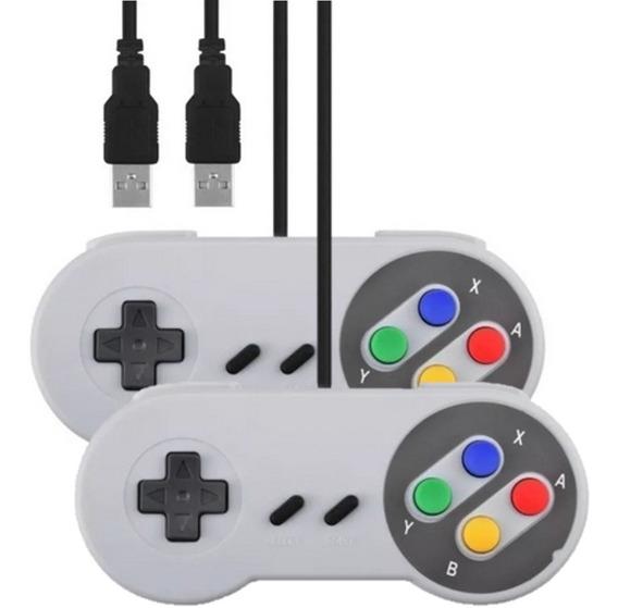 2 Controle Super Nintendo Snes Joystick Usb Jogos Emulador