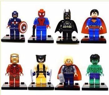 Kit 8 Bonecos De Montar = Lego. Super Heróis