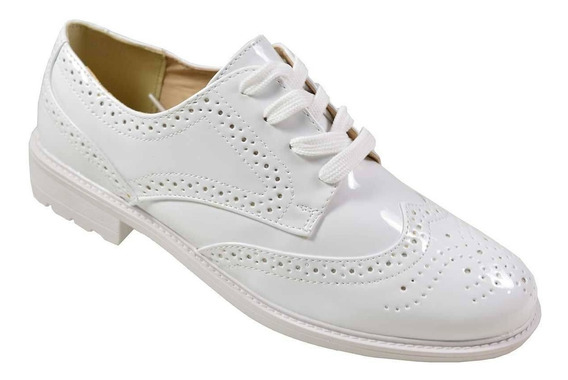 Sapato Feminino Oxford Facinelli Verniz Branco- Promoção