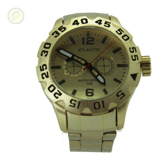 Relógio Masculino Automatic Aço Original Social Sport Dourad