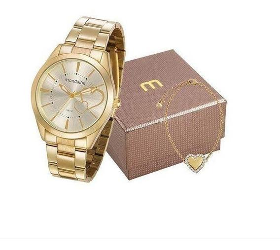 Kit Relógio Mondaine Feminino Dourado 53690lpmgde1k1 + Nf-e