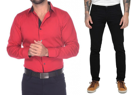Kit 1 Camisa Social Slim + 1 Calça Jeans Skinny Masculino