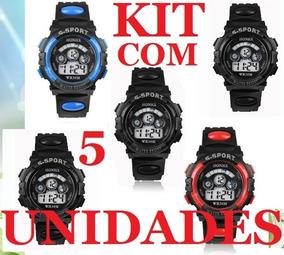 Kit C/ 05 Unidades Relógio S - Sport / Militar Kids Honhx