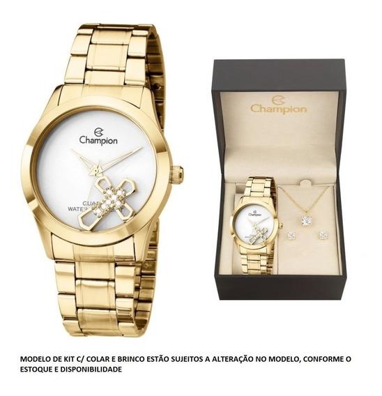 Relógio Champion Dourado Cruz Com Kit Ch25909w