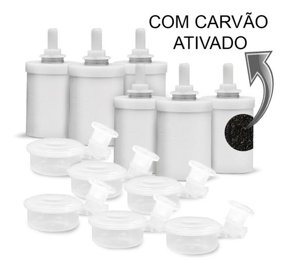Kit 6 Velas Filtro De Barro Carvão Ativado+6 Boias De Filtro