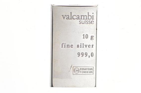 Lingote De Plata Pura 999.0 Valcambi 10 Gramos. Coleccion