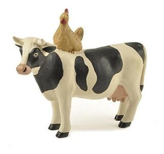 Vaca Lechera De Pie Y Pollo Gallina 4 X 4,5 Resina De Piedra