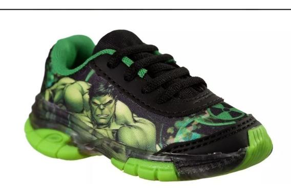 Kit 4 Pares Tenis Infantil Hulk Skye Com Luz Leds