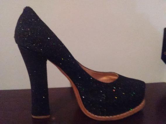 Zapatos Con Plataforma Con Taco De 11 Cm En Lame Negro