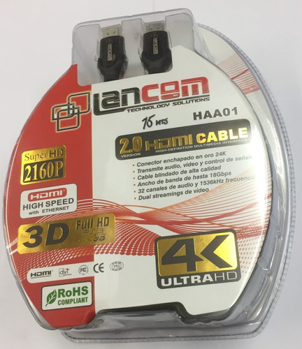 Cable Hdmi 2.0 De 15 Metros 4k 3d Marca Lancom Conector 24k