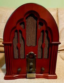 Rádio Capelinha (réplica) Em Madeira Com Am/fm E Cd - Raro
