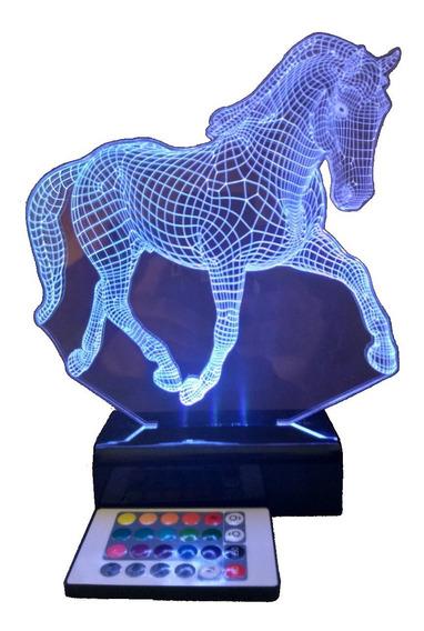 Luminária Led 3d Cavalo 1 Abajur Display - Controle Remoto