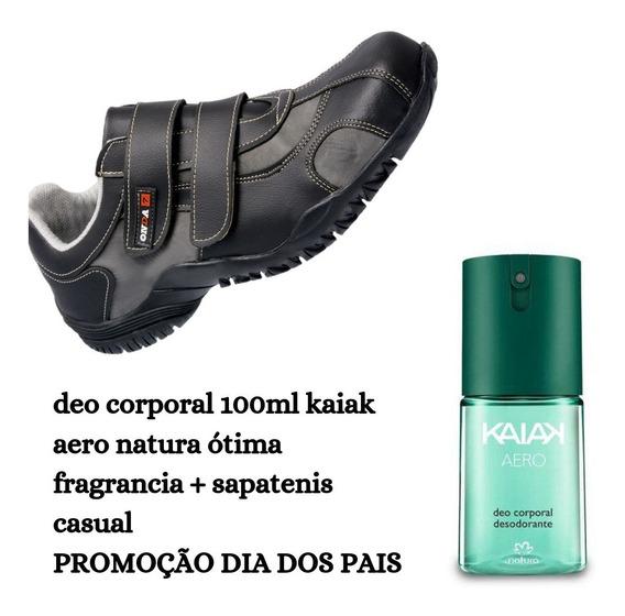 Kit Tenis Sapatênis De Presente Masculino Com Desodorante Deo Corporal Kaiak Aero 100mlda Natura Promoção Presentes Luxo