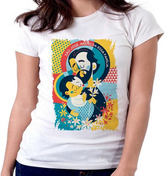 Blusa Camiseta Feminina Baby Look São José Santo Igreja Cató
