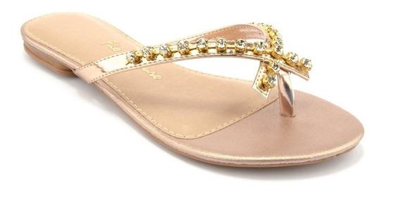 Sandalias Femininas Fio De Ouro Rosé