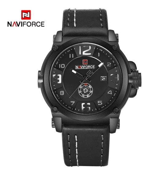 Relógio Masculino Naviforce Original Pulseira Couro Promoção