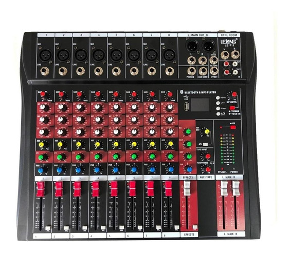 Mesa De Som Bluetooth Usb Mixer Mp3 Digital 8 Canais Le711