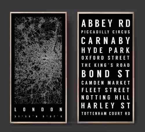 Combo 2 Cuadros Mapa Londres + Calles Barrios 40 X 60 Cm