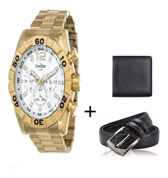 Relógio Condor Masculino Dourado 4 K Covd33aa/4k + Carteira