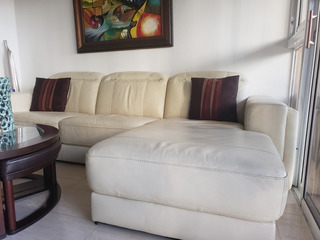 Sofa L En Piel Color Beige