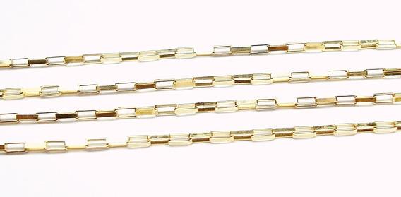 70 Cm Corrente Elos Retangulares Ouro 18k Frete Grátis