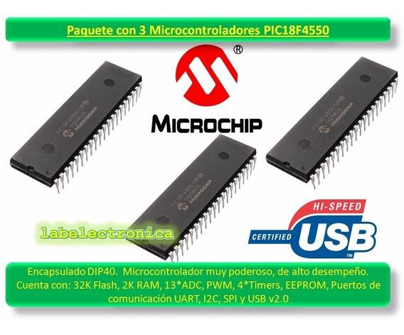 Pic18f4550 -i/p Paquete X3 Microcontrolador Pic Microchip