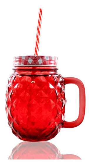 Frasco Ball Mason Jar Piña 16oz Tapa Colores Y Popote