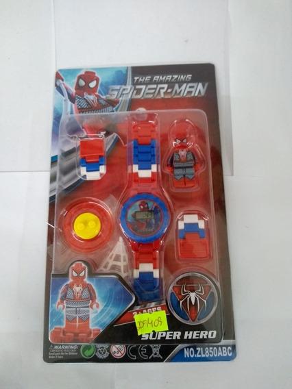 Relógio Dig. Infantil Homem Aranha + Boneco Lego + Adesivo