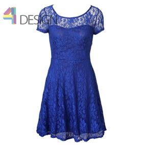 Vestido Azulino De Encaje Talla Grande