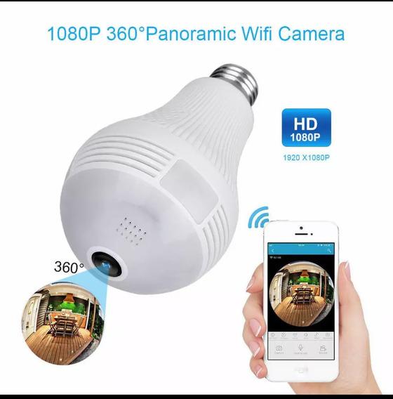 Lâmpada Câmera De Segurança Wifi 360° Ip Panorâmica Espiã