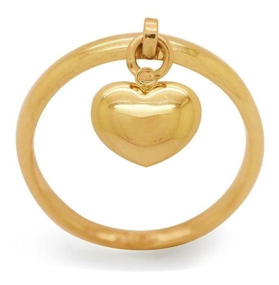 Anel Com Pingente Coração Em Ouro 18k - Ov/13717