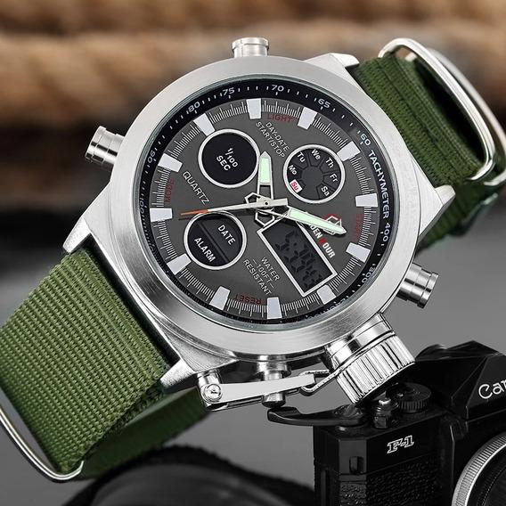 Relógio Quartzo Pulseira Nylon Exército Militar Presente