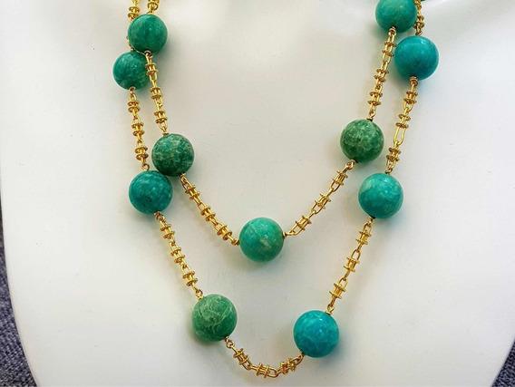Hermoso Collar Tejido Oro Solido 18k Perlas D Amazonita Jade