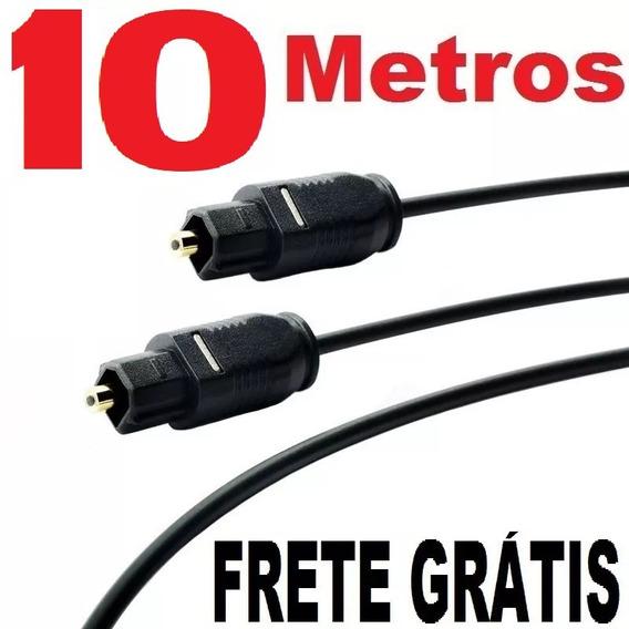 Cabo Óptico Digital Toslink 10 Metros 10 Mts (fibra-ótica)