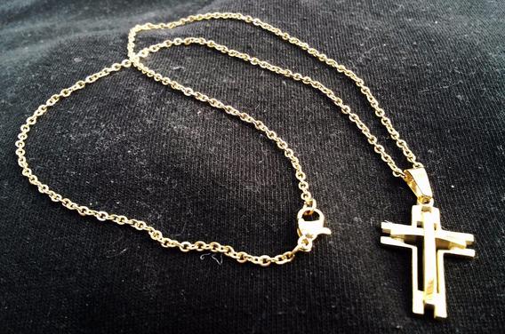 Colar/cordão/corrente Pingente Crucifixo Banhado Aço Inox P