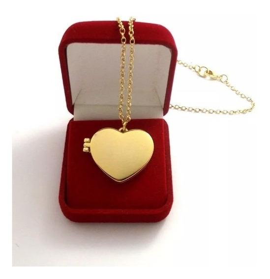 Colar Pingente Coração Relicário + Banho De Ouro 18k + Caixa