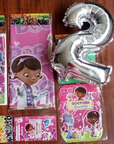 Kit Decoracion Doctora Juguetes Fiesta 24 Invitados+obsequio