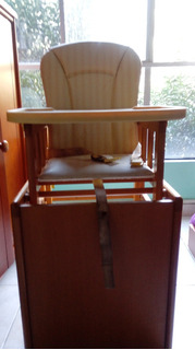 Trona -silla Alta Bebe De Madera Convertible En Silla Y Mesa