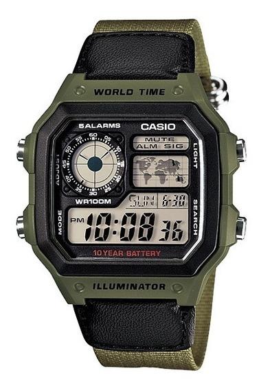 Relogio Casio Ae 1200w Borracha Mapa Crono Original Ae1200