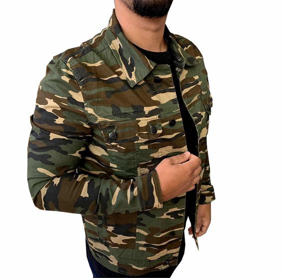 Jaqueta Casaco Blusa Camuflada Masculina Jens Exercito Slim