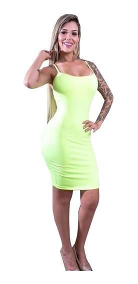 Vestido Curto Tira Neon Canelado Fluorecente Promoção 2019