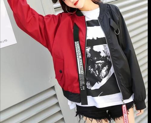 Imagen 1 de 2 de Cortavientos Harajuku, Bi Color Negro Rojo Unisex, Tallas