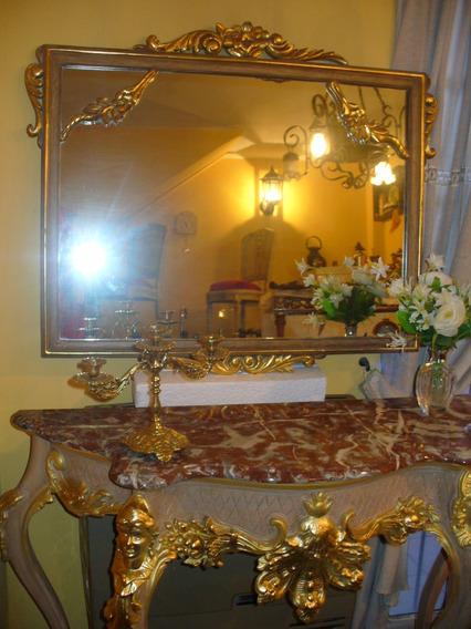 Espejo Antiguo Grande Frances Luis Xv Dorado A La Hora Crist