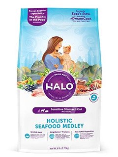 Comida Para Gato Halo, Purely For Pets Sabor Mariscos 6 Bols