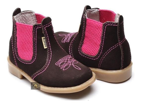 Botina Country Infantil Feminina Cowgirl Bota Rosa Couro